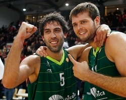 Berni Rodriguez and Joel Freeland celebrates - Unicaja