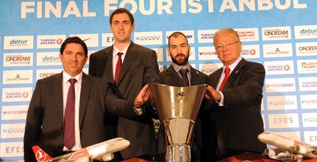 Xavi Pascual, Erazem Lorbek, Vassilis Spanoulis and Dusan Ivkovic with trophy in Press Conference - Final Four Istanbul 2012