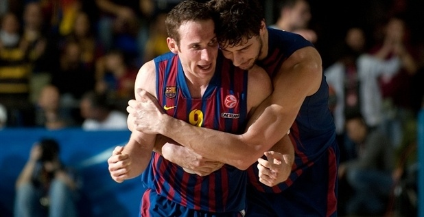 Marcelinho Huertas and Ante Tomic celebrates - Barcelona Regal - EB12
