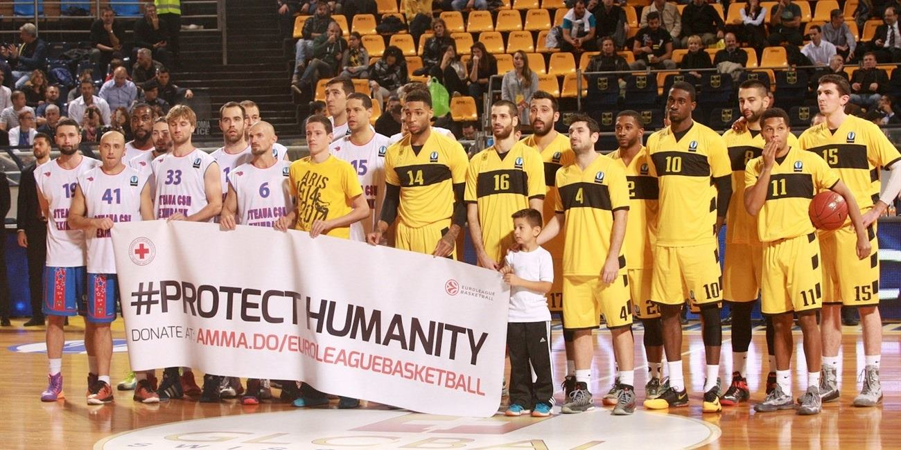 Protect Humanity - Aris Thessaloniki vs. Steaua CSM Eximbank Bucharest - EC15 (photo Aris)