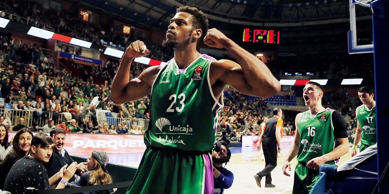 Jeff Brooks celebrates - Unicaja Malaga - EB17